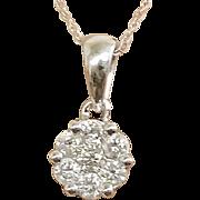 Christmas SALE 50% OFF Unique Beauty! 1.00ct Diamond Cluster 14Kw Necklace (PENDIA10032)