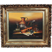 50% OFF SALE: L. Habady original oil on canvas Still Life with Violin 20th century (ART10023)