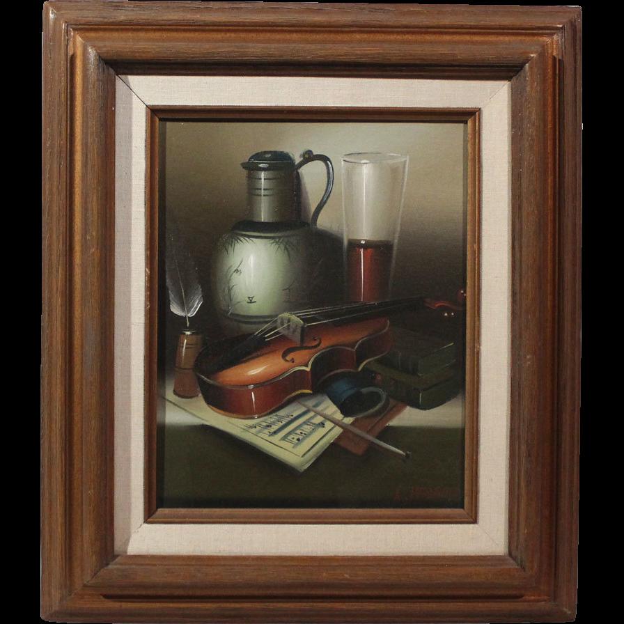 50% OFF SALE: L. Habady original oil on canvas Still Life with Violin 20th century (ART10059)
