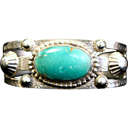 Sterling Turquoise Cuff Bracelet. Signed by unknown artist. circa 1968, 29g, 6.5in