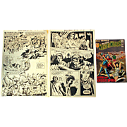 "The New Wonder Woman ""Assault on Castle Skull"" No. 192 -  DC Comics - With 2 ORIGINAL Storyboards of pages 15 & 16 - Red Tag Sale Item"