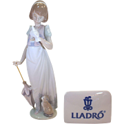 "Summer Stroll - Lladro porcelain figurine 1991 #7611 - 9"" tall - mint condition"
