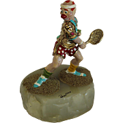 Ron Lee The Tennis Player *SIGNED sculpture on onyx base 344 of 7500 tennis clown figurine statue desk decor paperweight