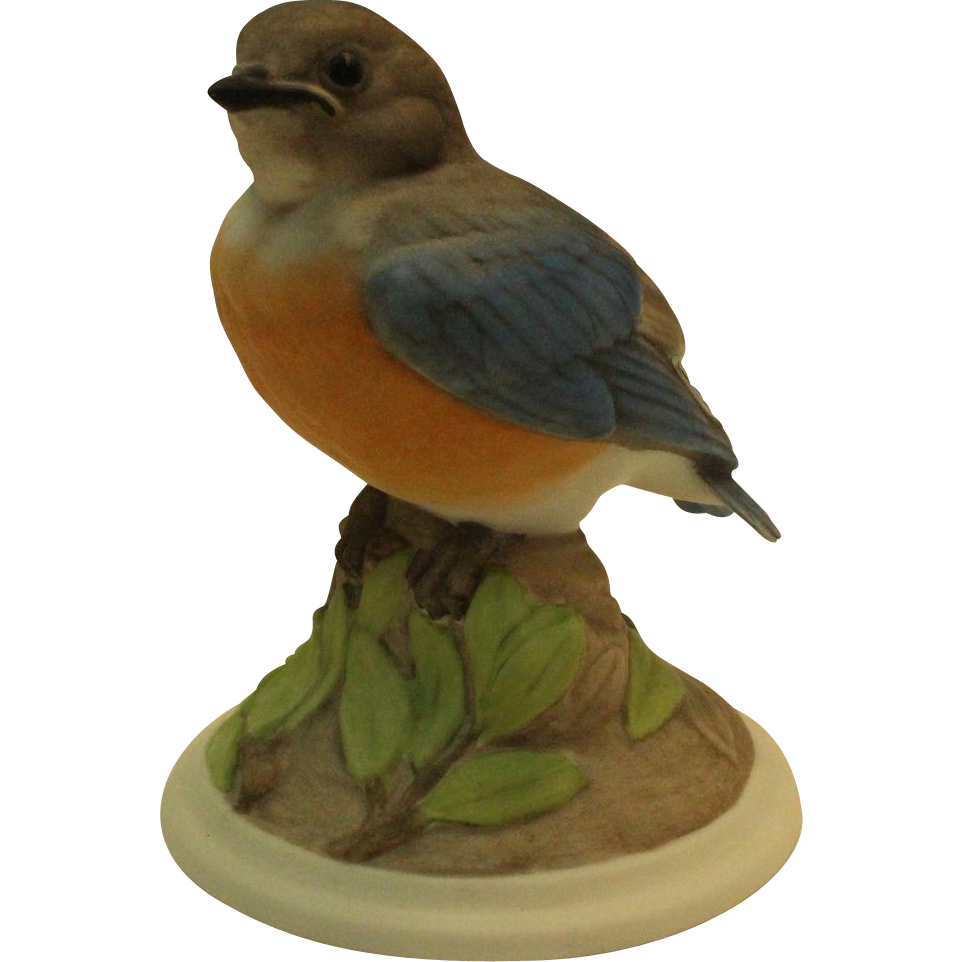 Boehm Baby Blue Bird 442 Vintage Porcelain Bird Figurine