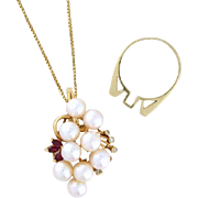 Convertible Pendant to Ring with Pearl, Diamond, Ruby - 14k yellow gold