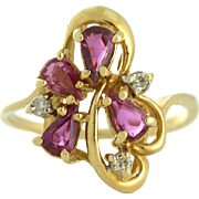 Flirty Ruby and Diamond Ring, 14k yellow gold