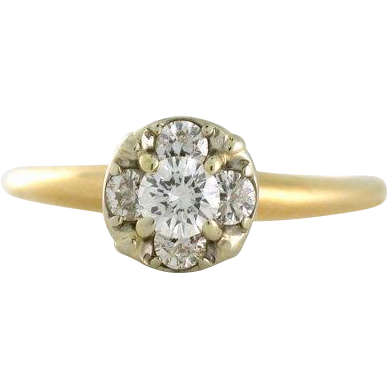 Dainty Diamond Half Carat Cluster Ring 14k gold 1956 from sharpfacetsgallery on Ruby Lane
