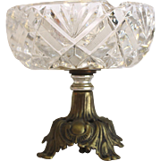 American Cut Glass ABP ASHTRAY with metal & marble pedestal base circa 1920s cut glass ash tray