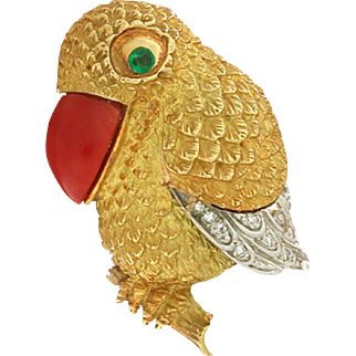 Artisanal Heirloom Parrot / Bird with Red Coral Beak and Emerald Eye, 18kt yellow gold