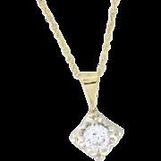 Classic .47ct Diamond Pendant, 14k Tu tone gold, 18in gold chain 14k yellow gold