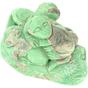 Chinese Turquoise Carving of Lioness and Cubs - From Wuhan Chinese Tomb - Turquoise Carving for a Woman