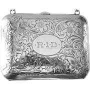 Ladies Sterling Coin Purse from 1932 Flower Engraved Art Deco Monogrammed 93.5g