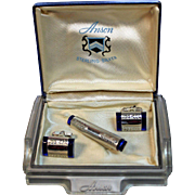 Anson Sterling Silver Cufflinks and Tie Clip with Sapphire Blue Tips and Detailed Engraving