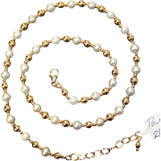 REAL Pearls and 14k gold beads in 20 inch long necklace with adjustable length. BEAUTIFUL VINTAGE NECKLACE NEW TO OUR COLLECTION!