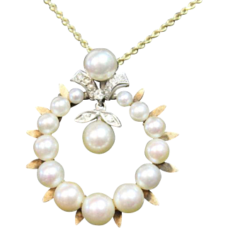 Victorian Pearl & Diamond Circle Brooch Pin Pendant Vintage Estate, 14k yellow gold - NEWLY AVAILABLE CONVERTIBLE PIECE!