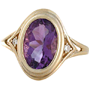 Retro Amethyst Ring with Diamonds. 14k yellow gold circa 1970s. Size 9. February birthstone!