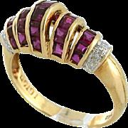 1970s Ruby Diamond Ring, 18 karat gold yellow, Size 6. Princess cut rubies in Art Deco Style inspired setting. Eye catching!