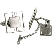 Sterling Silver Designer Cuff Links &Tie Tack. Formal Wear Business Office Attire Wedding Gift Groom Best Man Boyfriend Husband