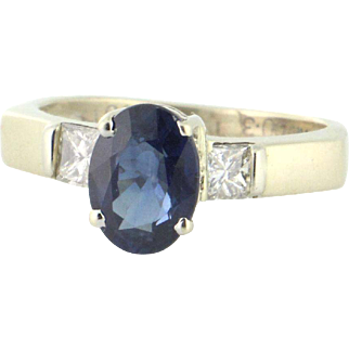 Beautiful 18k Sapphire and Diamond Ring - Sapphire 1.40ct, Diamond .39tcw, Circa 1990