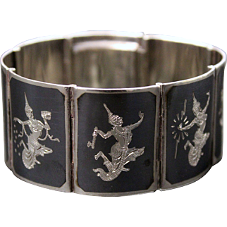 Niello Bracelet with Siamese Goddess of Lightening - Sterling Silver. Siam