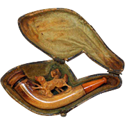 Meerschaum Pipe with Hunting Dog Carving. Features Amber Stem. Austrian Meerschaum Pipe. In original fitted case.