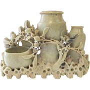 Intricate Hand Carved Chinese Soapstone Carving Dried Flower Vases
