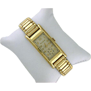 "Vintage Bulova Watch ""Minute Man"" 17 Jewel, Long Curved Case 10k Rolled Gold Plate Art Deco Watch"