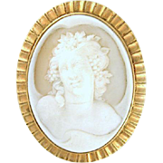 One-of-a-Kind Hand Carved Portrait Cameo 14k gold Romantic Brooch circa 1890-1910