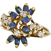 Delightful Sapphire and .25tcw Diamond Ring, 14k yellow gold, circa 1970. - See item details for more info