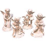 Four Seasons Dresden Style Cherubs by Karl-Heinz Klette Bavaria Germany circa 1960s Blanc de Chine Angels Baby