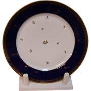 Sevres Cobalt Rim Plate Manufacture Nationale Dore a Sevres  in a circle with green double-L Sevres