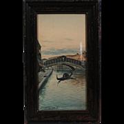 50% OFF SALE: Franklin Dullin Briscoe Venice Canals waterscape watercolor watercolour on paper late 1800s (ART10042)