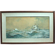 50% OFF SALE: Franklin Dullin Briscoe sailing ship seascape watercolor watercolour on paper late 1800s (ART10040)