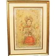 "50% OFF SALE: Edna Hibel ""Tonette"" Section XIV 24/24 Stone Lithograph on Silk Professionally Framed w/ COA attached  Litho Wall Art Russian Religious (ART10013)"