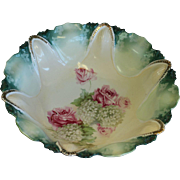 RS Prussia German Rose Floral Serving or Berry Bowl w/ Red Star Mark and full bouquet of roses