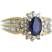 Natural Sapphire with Diamond Accents Estate Ring - Channel Set, Halo - 10k gold