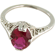 Show Stopping Filigree Work with Synthetic Ruby Circa 1927 14k white gold