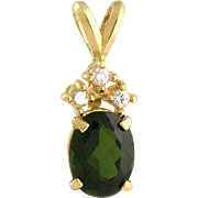 1.39ct Tourmaline Pendant with diamond. 14k yellow gold