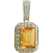 Citrine 1.00ct Pendant, Emerald Cut. with .17tcw Diamond Halo and Bail, 14k white gold