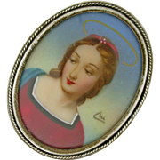 Italian Miniature Portrait .800 Silver circa 1900. Signed piece of a wealthy religious woman