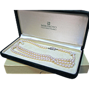 Mikimoto Vintage Pearls 30 inches 6 mm Creamy White Akoya Cultured Pearls. Vintage from 1959