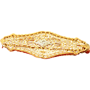 Art Nouveau Yellow Gold Brooch 10k with Diamond .02ct circa 1930s