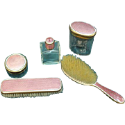 Vintage Pink Vanity Dresser Set with Brushes and Bottles. Five Piece Set. Brass and Enameling.