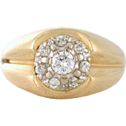 Quality .60tcw Diamond Cluster Men's Ring 14k yellow gold Ring VS-S F/G; Size 11 - could be unisex as well