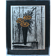 "50% OFF SALE: Bernard Buffett ""Flowers"" 1968 lithograph w/ certificate of authenticity (ART10011)"
