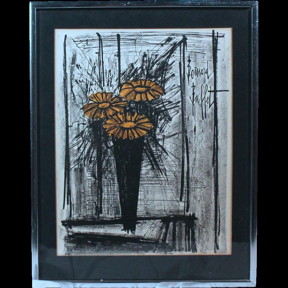 """50% OFF SALE: Bernard Buffett """"Flowers"""" 1968 lithograph w/ certificate of authenticity (ART10011)"""