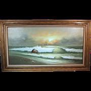 50% OFF SALE: George Cherepov beachscape oil on canvas mid-century (ART10017)