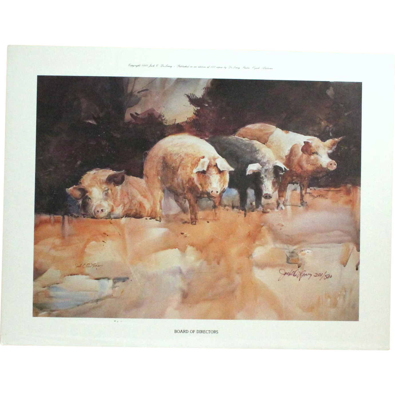 """50% OFF SALE: """"Board of Directors"""" by Jack Clouse DeLoney numbered print (201 of 500) 1985 Amusing pig art! (ART10001)"""