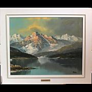 50% OFF SALE: Charles Garo (Tatossian) snowy mountain landscape acrylic circa late 20th century (ART10043)