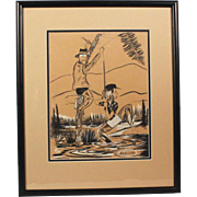 "Original Jack Harrington Cartoon Charcoal Pencil Drawing ""Unsnagging Fishing Line"" Noted Cartoonist"